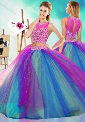 Rainbow Colored Big Puffy Detachable Quinceanera Dress with See Through