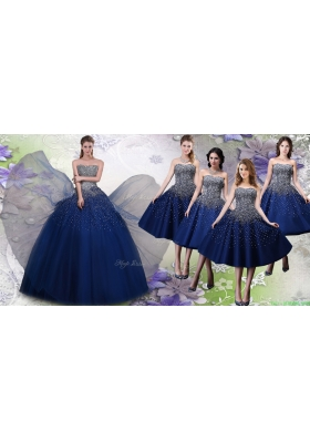 Most Popular Beaded Big Puffy Quinceanera Dress and Elegant Tea Length Navy Blue Dama Dresses
