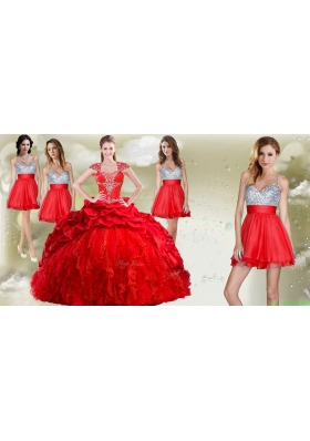Top Selling Beaded and Pick Ups Quinceanera Dress and Romantic Sequined V Neck Short Dama Dresses