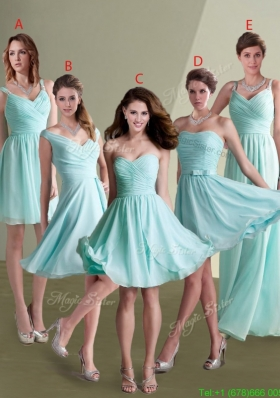 Elegant Empire Ruched Decorated Chiffon Bridesmaid Dresses in Aqua Blue