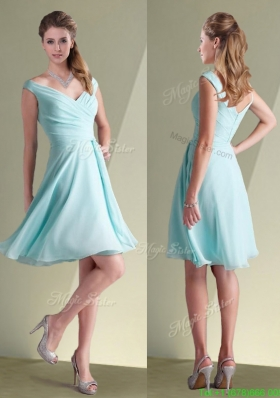 Lovely Chiffon Off the Shoulder Aqua Blue Bridesmaid Dresses with Ruching
