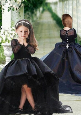 New Arrival See Through Long Sleeves Little Girl Dress in Black