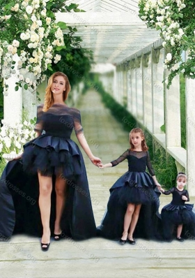 New Style High Low Navy Blue Prom Dress with Bateau and Gorgeous See Through 3/4 Length Sleeves Little Girl Dress with Scoop and New Style High Low Tobbler Dress with Long Sleeves