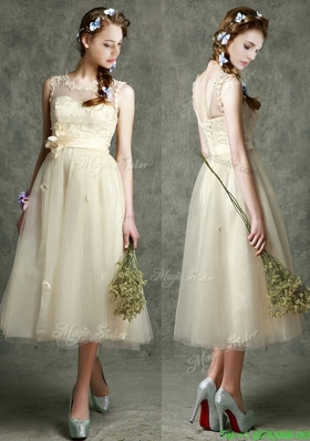 See Through Scoop Champagne Bridesmaid Dress with Hand Made Flowers and Appliques