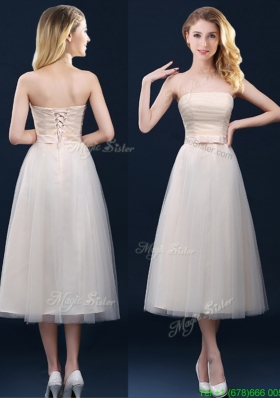 Low Price Strapless Belt Champagne Long Bridesmaid Dress in Tulle