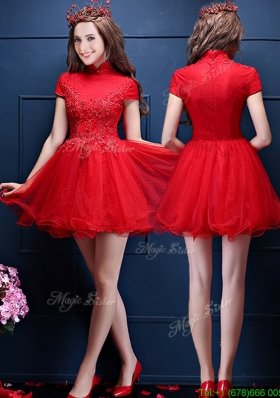 Luxurious High Neck Short Sleeves Mother Dress with Appliques and Beading