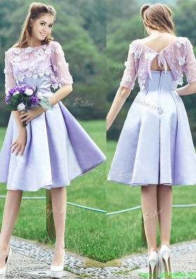 New Style Bateau Half Sleeves Lavender Mother Dress with Appliques