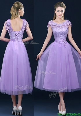 New Style Cap Sleeves Lavender Bridesmaid Dress with Lace and Appliques