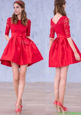 Romantic Bowknot and Laced Scoop Half Sleeves Mother Dress in Red