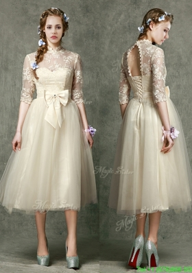See Through High Neck Half Sleeves Mother Dress with Lace and Bowknot