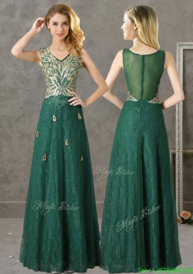 Luxurious V Neck Dark Green Mother Dress with Appliques and Beading