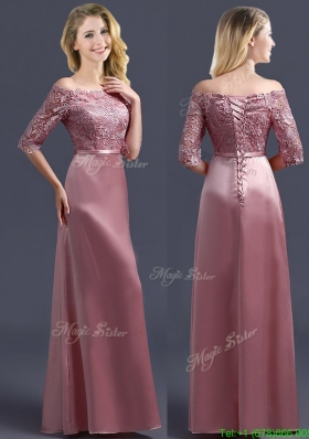 Sweet Off the Shoulder Half Sleeves Mother Dress with Lace and Belt