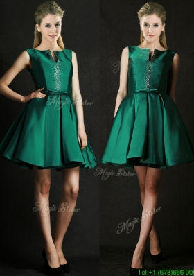 Classical A Line Green Short Mother Dress with Beading and Belt