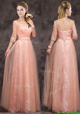 Exquisite See Through Applique and Laced Long Mother Dress in Peach