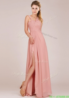 Modern Straps Peach Mother Dress with Ruching and High Slit