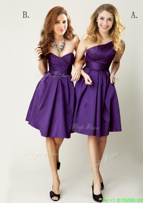 Top Selling Mini Length Ruching Mother Dress in Purple