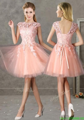 New Style Bateau Peach Short Junior Prom Dress with Lace