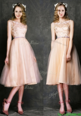 Romantic Laced and Sashed Scoop Junior Prom Dress in Peach