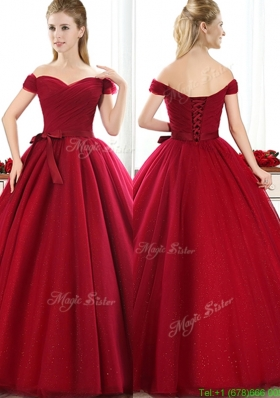 New Arrivals Off the Shoulder Wine Red Mother Dress with Bowknot