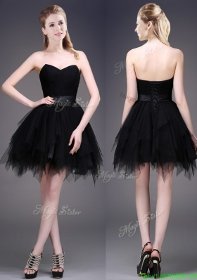 Best Selling Black Short Mother Dress with Ruffles and Belt