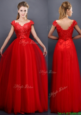 Classical Beaded V Neck Red Mother Dress with Cap Sleeves