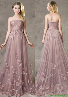 Classical Strapless Brush Train Mother Dress with Appliques