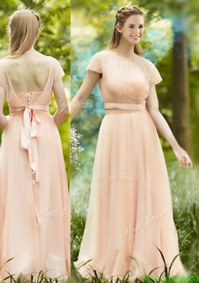 Elegant See Through Scoop Short Sleeves Mother Dress in Peach