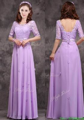 Exclusive Scoop Half Sleeves Lavender Mother Dress with Appliques and Lace