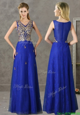 Gorgeous V Neck Appliques and Beading Mother Dress in Royal Blue