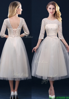 Hot Sale Laced and Applique Champagne Mother Dress in Tea Length