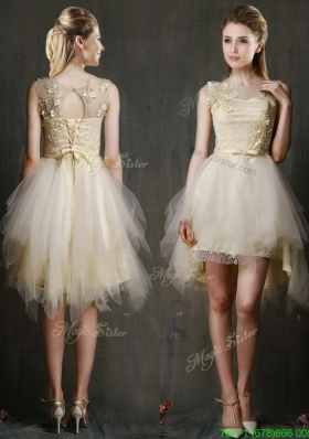 hrough Scoop Champagne Prom Dress with Appliques and Belt