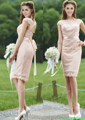 See Through Scoop Cap Sleeves Mother Dress with Sashes