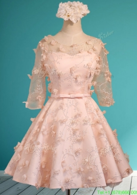 Wonderful Applique and Belted Scoop Short Mother Dress in Peach