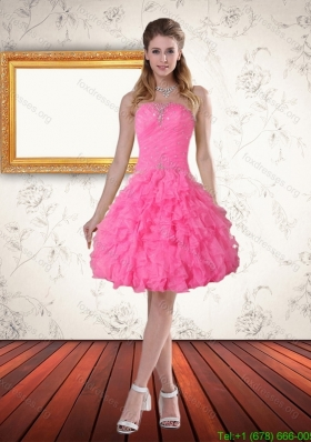 2015 Beautiful Baby Pink Sweetheart Bridesmaid Dresses with Beading and Ruffled Layers