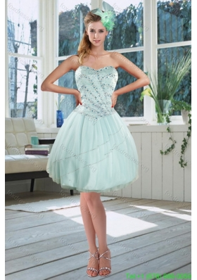 2015 Beautiful Light Blue Sweetheart Short Bridesmaid Dresses with Beading