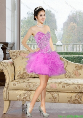 2015 Beautiful Mini Length Sweetheart Bridesmaid Dresses with Appliques and Ruffles