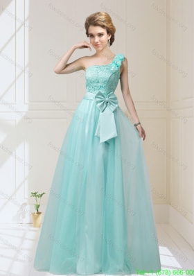 2015 Beautiful One Shoulder Bridesmaid Dresses with Hand Made Flowers and Bowknot