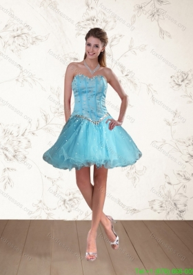 2015 Cute Baby Blue Sweetheart Bridesmaid Dresses with Ruffles and Beading