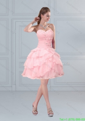 2015 Cute Baby Pink Sweetheart Beaded Bridesmaid Dresses with Ruffled Layers