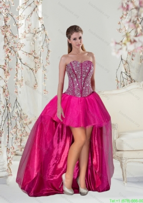 2015 New Arrival Beading Hot Pink Bridesmaid Dresses