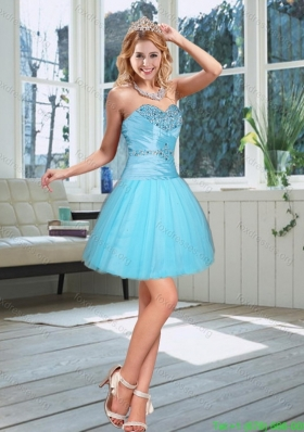 2015 New Style Baby Blue Sweetheart Bridesmaid Dress with Beading