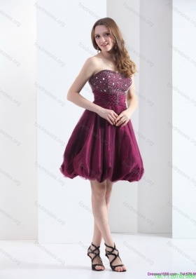 2015 Perfect Wine Red Strapless Short Bridesmaid Dresses with Beading