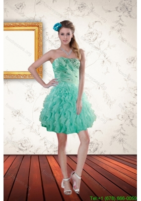 2015 Popular Apple Green Bridesmaid Dresses with Appliques and Ruffles