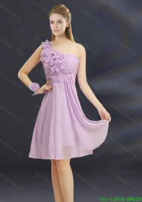 2015 Romantic Hand Made Flowers Sweetheart Bridesmaid Dress with Ruching