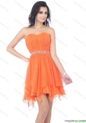 2015 Romantic Sweetheart Beading and Ruching Bridesmaid Dress in Orange