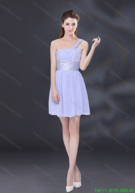 2015 Ruching and Belt Chiffon Bridesmaid Dress in Lavender