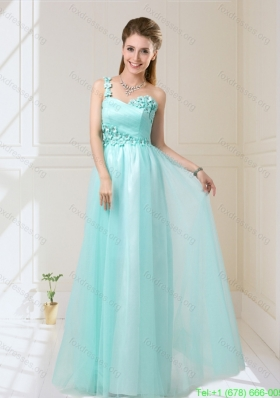 2015 Summer Elegant One Shoulder Floor Length Bridesmaid Dresses with Appliques