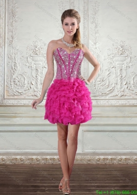 2015 Sweetheart Hot Pink Bridesmaid Dresses with Beading and Ruffled Layers