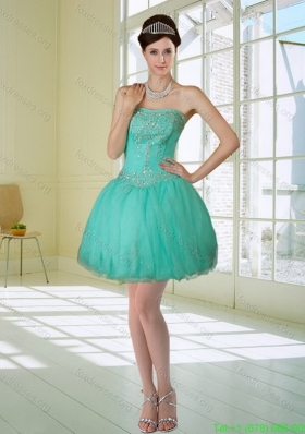 Apple Green Strapless 2015 Bridesmaid Dresses with Embroidery and Beading