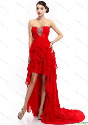 High Low Ruffled Layers Beading Red Bridesmaid Dresses for 2015